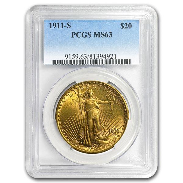 1911-S $20 Saint-Gaudens Gold Double Eagle MS-63 PCGS