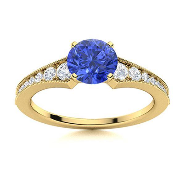Natural 1.85 CTW Ceylon Sapphire & Diamond Engagement Ring 14K Yellow Gold