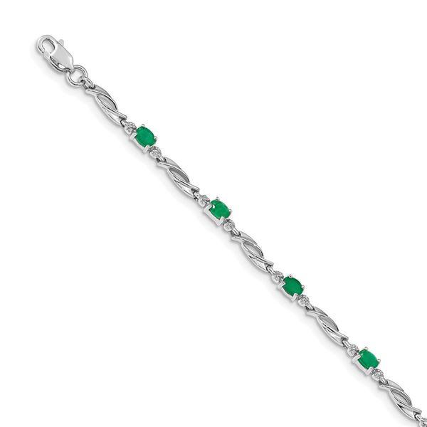 14K White Gold w/ Diamond and Emerald Linked Bracelet - 7 in.