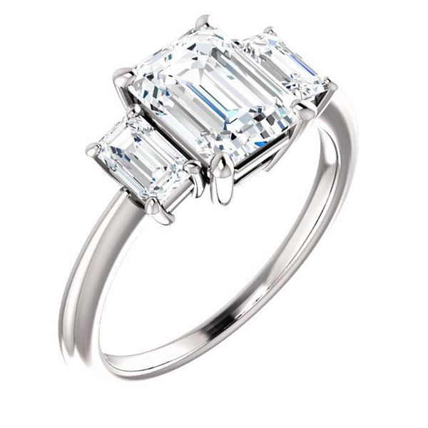 Natural 2.62 CTW 3-Stone Emerald Cut Diamond Engagement Ring 18KT White Gold