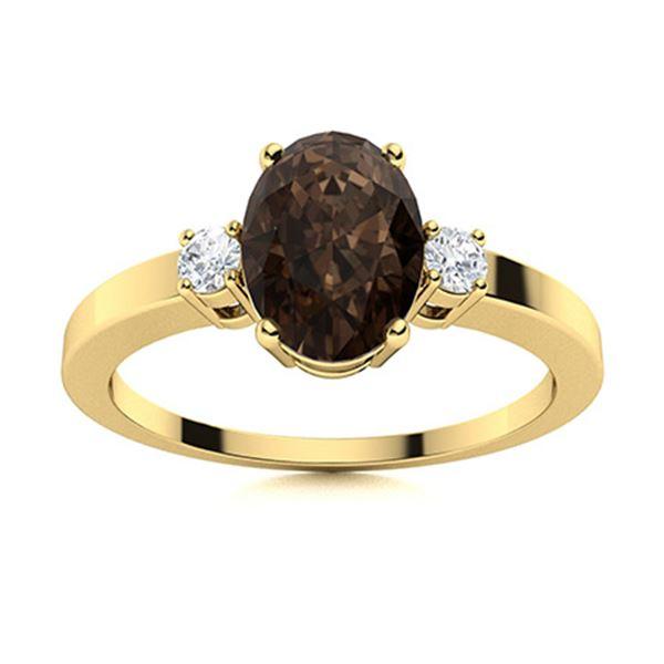 Natural 3.26 CTW Smoky Quartz & Diamond Engagement Ring 18K Yellow Gold
