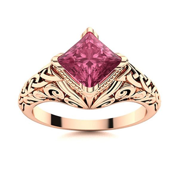 Natural 0.77 CTW Tourmaline Solitaire Ring 18K Rose Gold