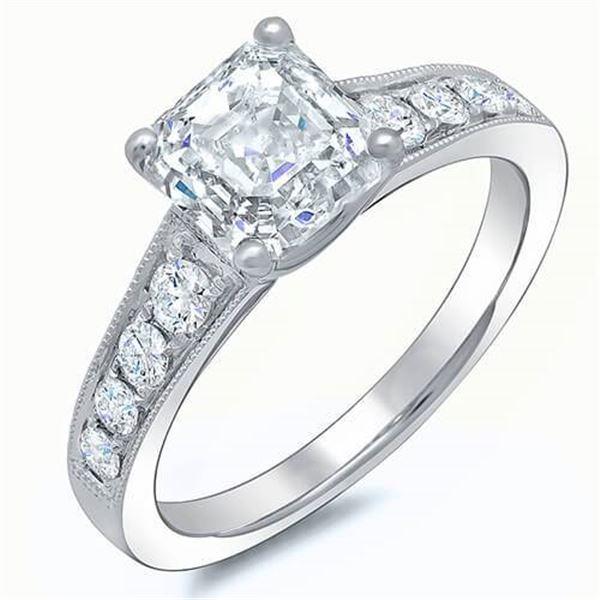 Natural 2.47 CTW Asscher Cut Diamond Engagement Ring 14KT White Gold