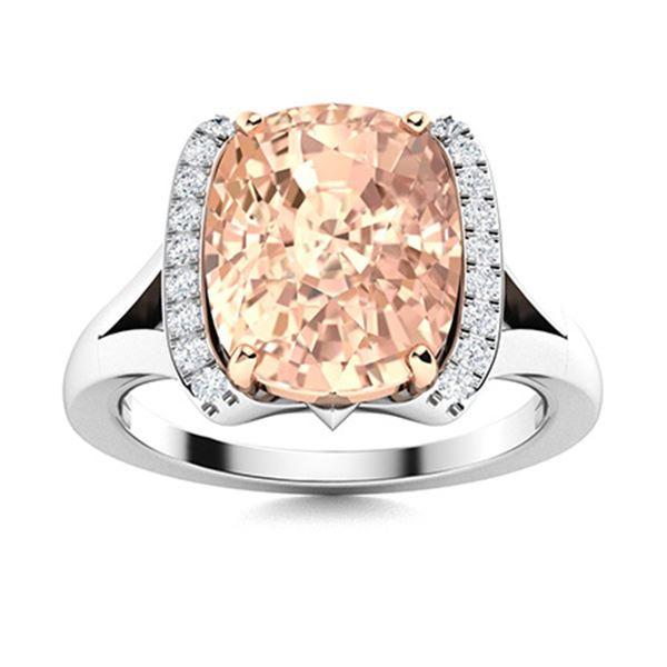 Natural 2.66 CTW Morganite & Diamond Engagement Ring 18K White Gold