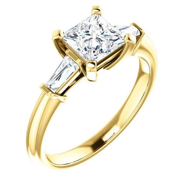 Natural 1.22 CTW Princess Cut & Baguettes 3-Stone Diamond Engagement Ring 18KT Yellow Gold