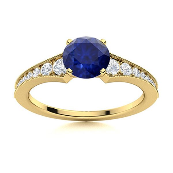 Natural 1.0 CTW Sapphire & Diamond Engagement Ring 14K Yellow Gold