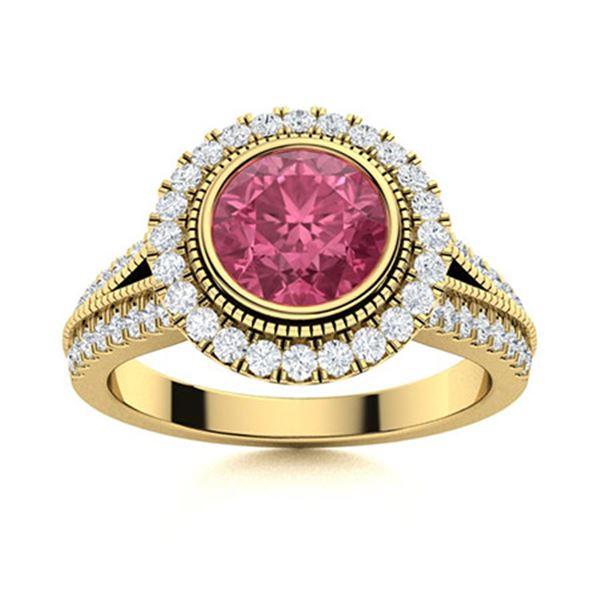 Natural 1.79 CTW Tourmaline & Diamond Engagement Ring 18K Yellow Gold