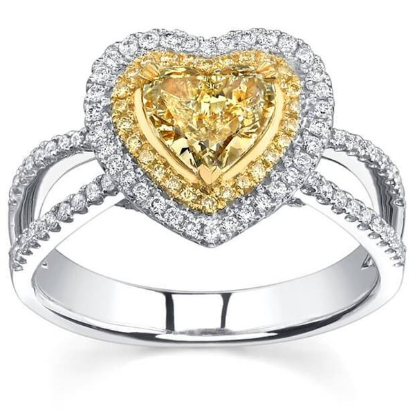 Natural 1.72 CTW Canary Yellow Heart Shape Halo Diamond Ring 18KT White Gold