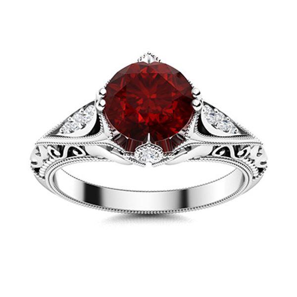 Natural 1.84 CTW Garnet & Diamond Engagement Ring 18K White Gold