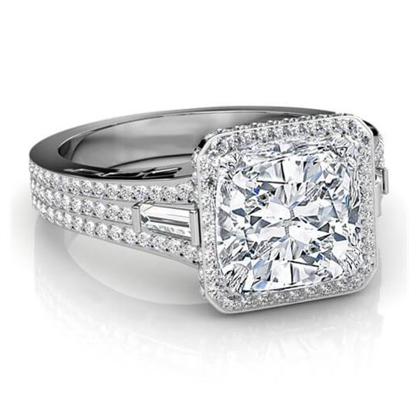 Natural 3.02 CTW Cushion Cut & Baguettes Halo Diamond Engagement Ring 18KT White Gold