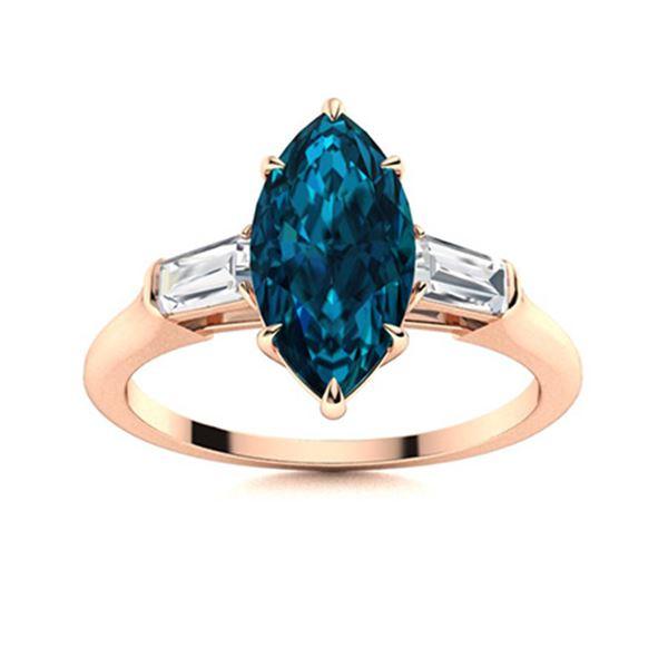 Natural 1.82 CTW Topaz & Diamond Engagement Ring 18K Rose Gold