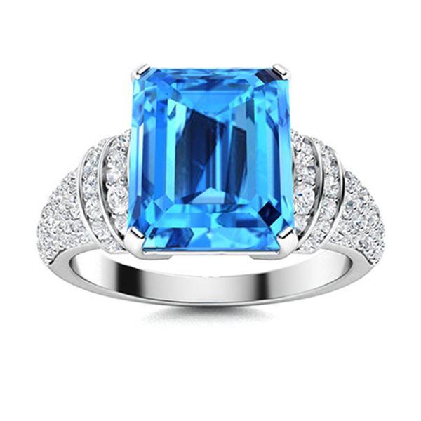 Natural 4.30 CTW Topaz & Diamond Engagement Ring 18K White Gold