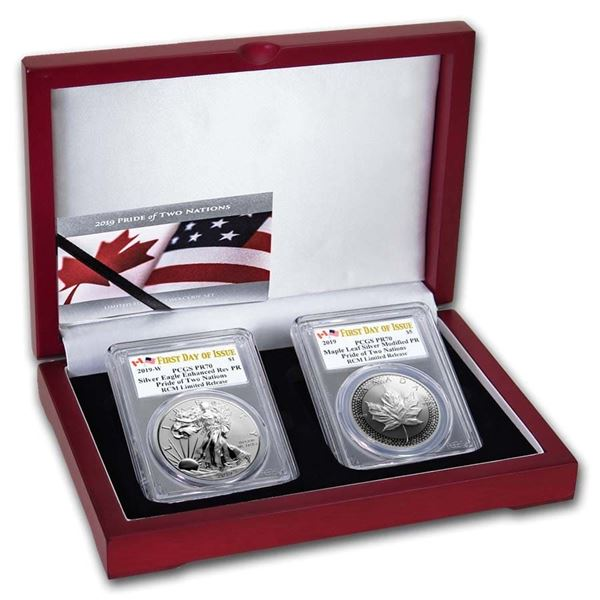 2019 RCM Pride of Two Nations 2-Coin Set PR-70 PCGS FD w/ Display