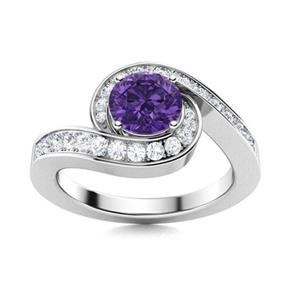 Natural 1.09 CTW Amethyst & Diamond Engagement Ring 14K White Gold