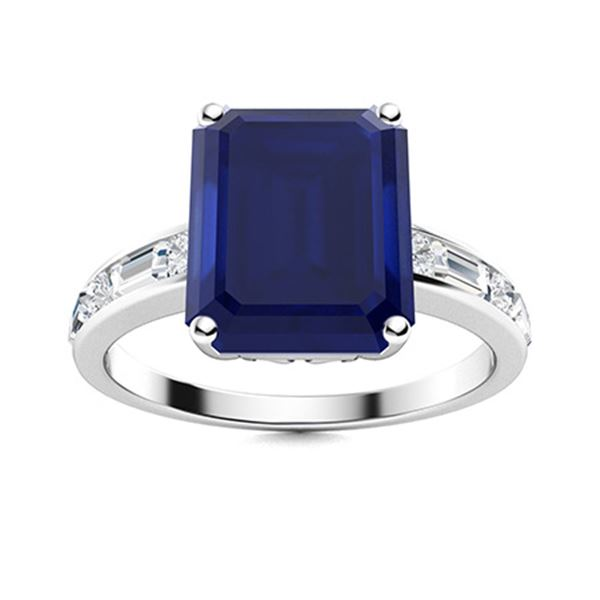 Natural 1.98 CTW Sapphire & Diamond Engagement Ring 18K White Gold