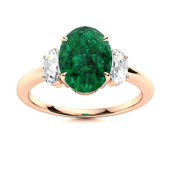 Natural 2.19 CTW Emerald & Diamond Engagement Ring 18K Rose Gold