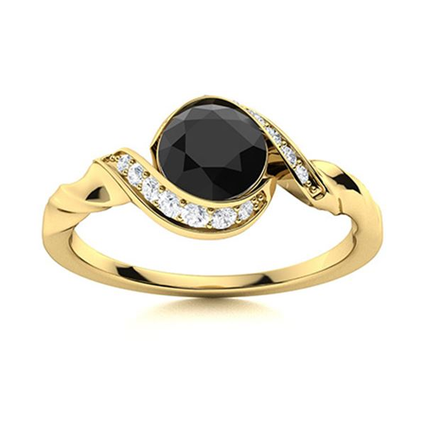 Natural 0.95 CTW Black & White Diamond Engagement Ring 18K Yellow Gold