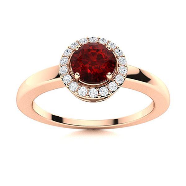 Natural 0.52 CTW Garnet & Diamond Engagement Ring 14K Rose Gold