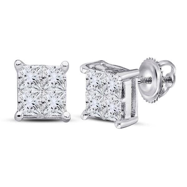 14kt White Gold Womens Princess Diamond Square Earrings 1/4 Cttw