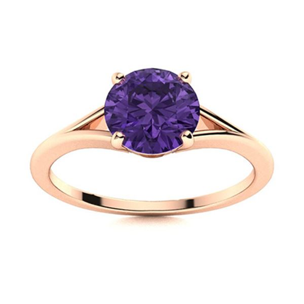 Natural 0.72 CTW Amethyst Solitaire Ring 18K Rose Gold
