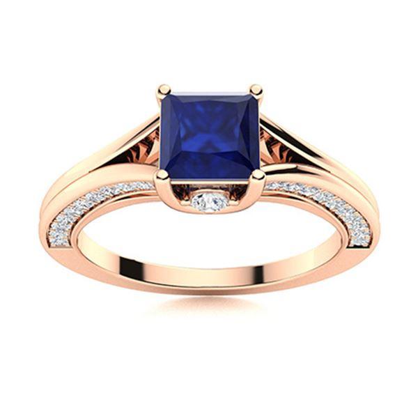 Natural 1.36 CTW Sapphire & Diamond Engagement Ring 18K Rose Gold