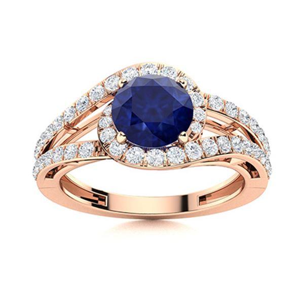 Natural 1.57 CTW Sapphire & Diamond Engagement Ring 18K Rose Gold