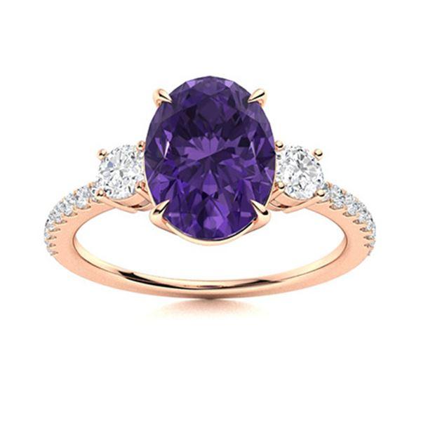 Natural 1.92 CTW Amethyst & Diamond Engagement Ring 18K Rose Gold