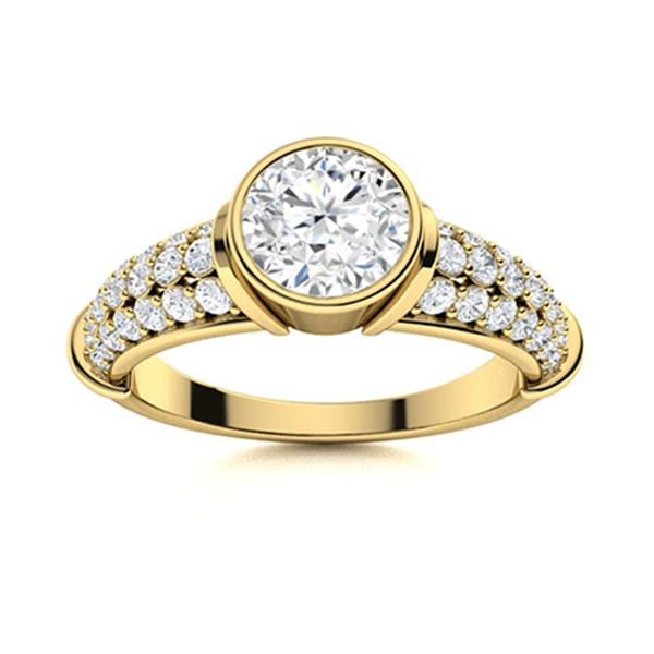 Natural 2.06 CTW Diamond Solitaire Ring 14K Yellow Gold