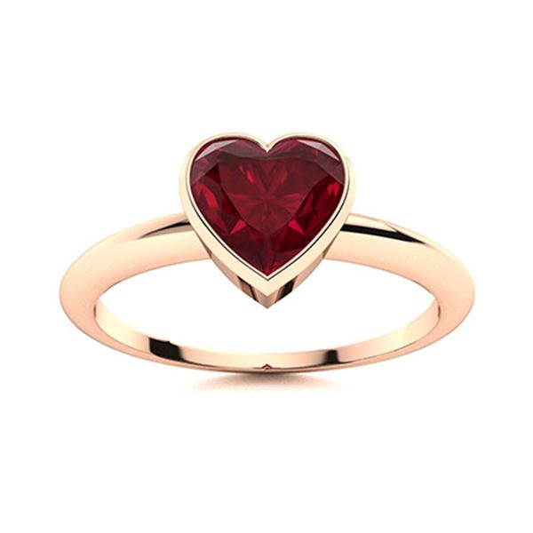 Natural 1.01 CTW Ruby Solitaire Ring 18K Rose Gold