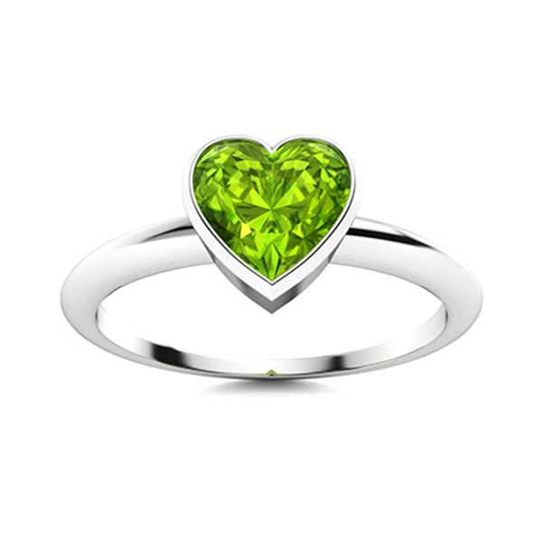 Natural 1.50 CTW Peridot Solitaire Ring 14K White Gold