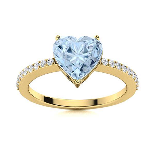 Natural 0.66 CTW Aquamarine & Diamond  Engagement Ring 14K Yellow Gold