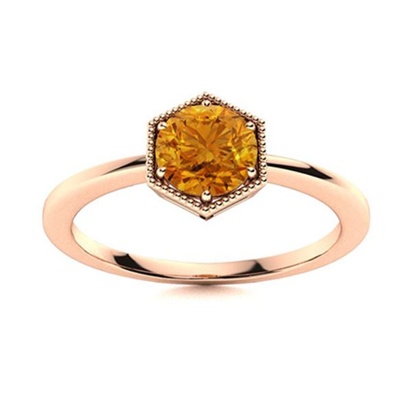 Natural 0.42 CTW Citrine Solitaire Ring 18K Rose Gold