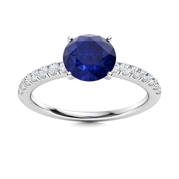 Natural 2.51 CTW Sapphire & Diamond Engagement Ring 14K White Gold
