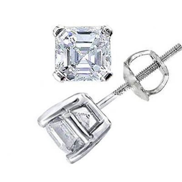 Natural 1.22 CTW Asscher Cut Diamond Stud Earrings 14KT White Gold