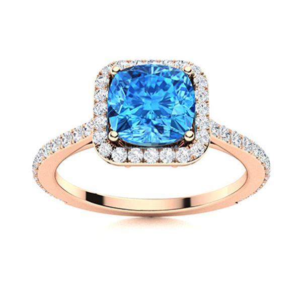 Natural 1.21 CTW Topaz & Diamond Engagement Ring 14K Rose Gold