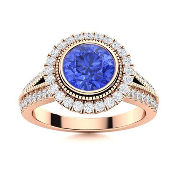 Natural 2.04 CTW Ceylon Sapphire & Diamond Engagement Ring 14K Rose Gold