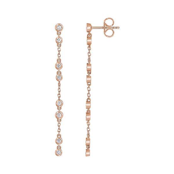 Natural 0.35 CTW Bezel Diamond Train Dangle Earrings 14KT Rose Gold