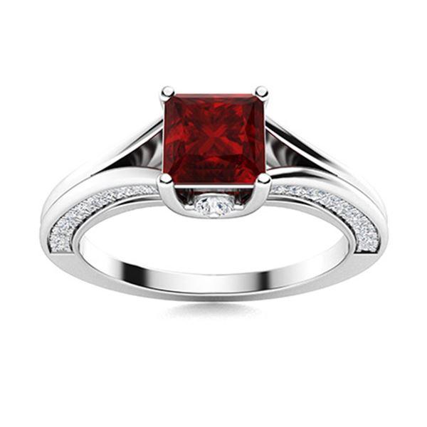 Natural 1.21 CTW Garnet & Diamond Engagement Ring 18K White Gold