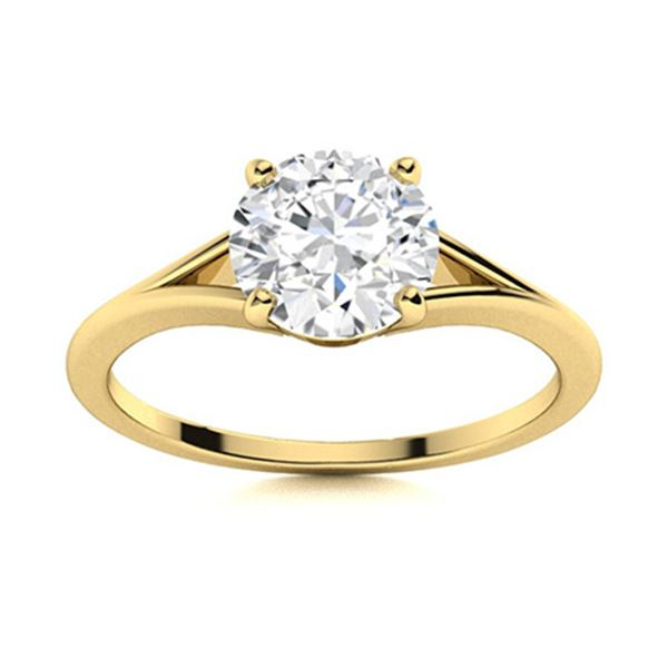Natural 0.81 CTW Diamond Solitaire Ring 14K Yellow Gold