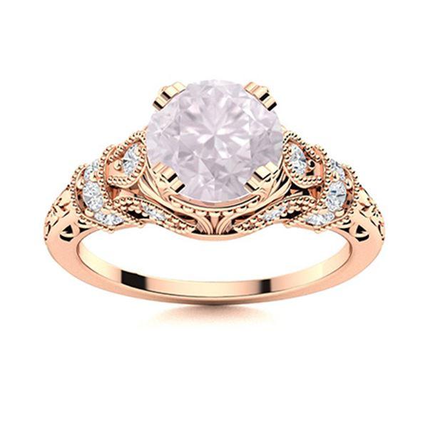 Natural 1.05 CTW Rose Quartz & Diamond Engagement Ring 14K Rose Gold
