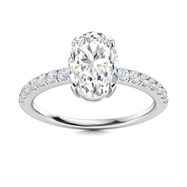 Natural 0.77 CTW Diamond Solitaire Ring 18K White Gold