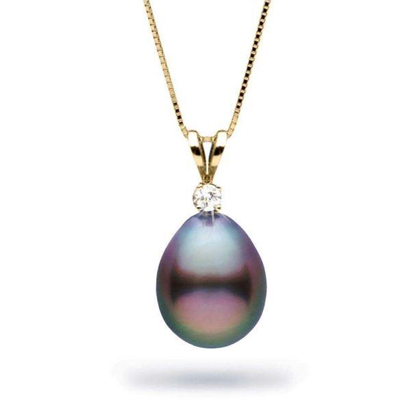 Black Tahitian Drop Shape Pearl and Diamond Radiance Pendant