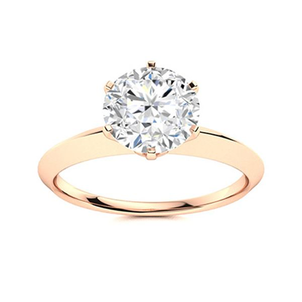 Natural 0.82 CTW Diamond Solitaire Ring 18K Rose Gold