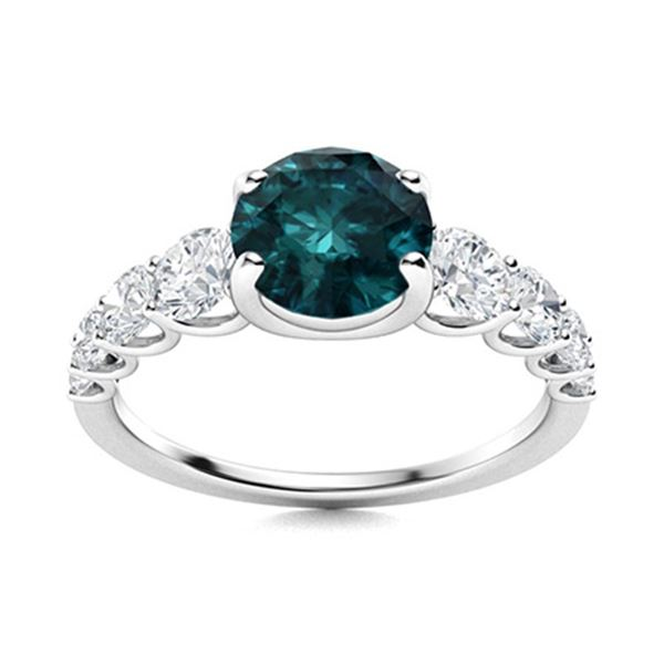 Natural 1.73 CTW Blue & White Diamond Engagement Ring 14K White Gold