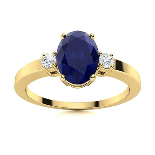 Natural 3.23 CTW Sapphire & Diamond Engagement Ring 18K Yellow Gold