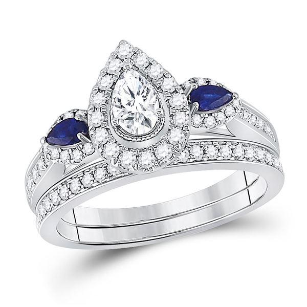 14kt White Gold Pear Diamond Bridal Wedding Ring Band Set 7/8 Cttw