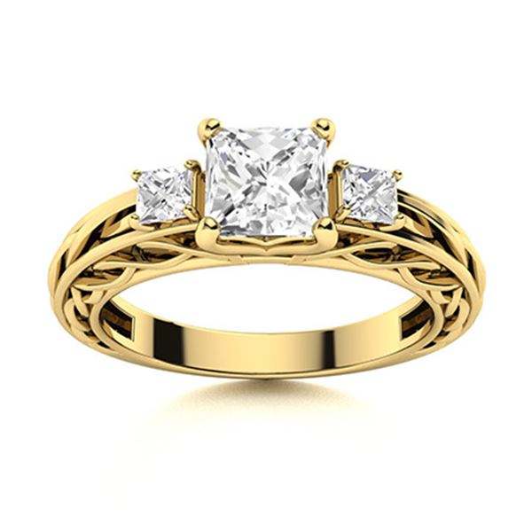 Natural 1.12 CTW Diamond Solitaire Ring 18K Yellow Gold