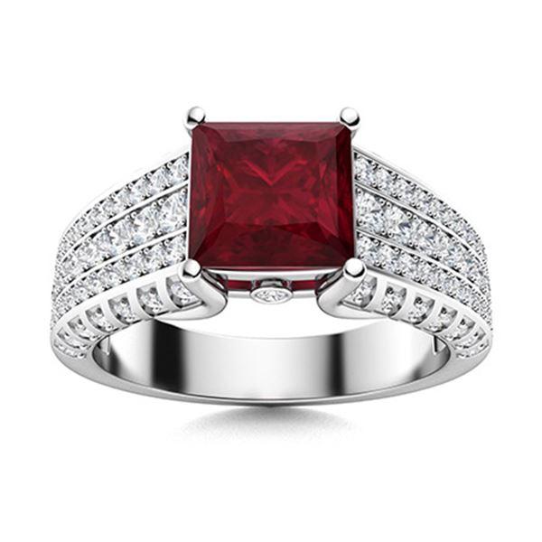 Natural 2.06 CTW Ruby & Diamond Engagement Ring 18K White Gold