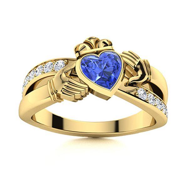 Natural 1.27 CTW Ceylon Sapphire & Diamond Engagement Ring 18K Yellow Gold