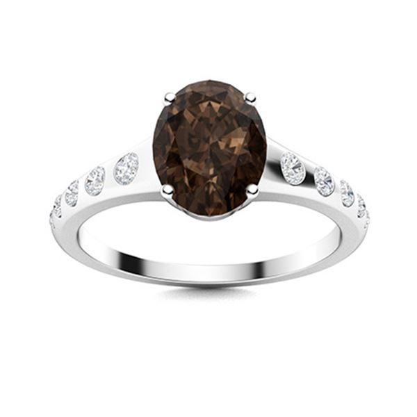 Natural 2.38 CTW Smoky Quartz & Diamond Engagement Ring 18K White Gold